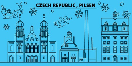 Czech Republic, Pilsen winter holidays skyline. Merry Christmas, Happy New Year decorated banner with Santa Claus.Flat, outline vector.Czech Republic, Pilsen linear christmas city illustration