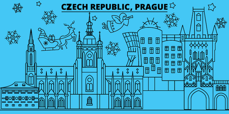 Czech Republic, Prague winter holidays skyline. Merry Christmas, Happy New Year decorated banner with Santa Claus.Flat, outline vector.Czech Republic, Prague linear christmas city illustration