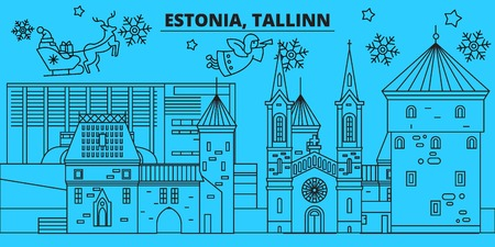 Estonia, Tallinn winter holidays skyline. Merry Christmas, Happy New Year decorated banner with Santa Claus.Flat, outline vector.Estonia, Tallinn linear christmas city illustration