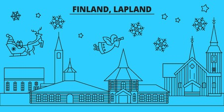 Finland, Lapland winter holidays skyline. Merry Christmas, Happy New Year decorated banner with Santa Claus.Flat, outline vector.Finland, Lapland linear christmas city illustration