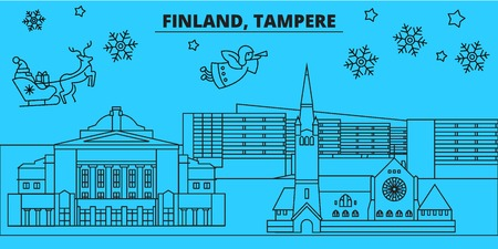 Finland, Tampere winter holidays skyline. Merry Christmas, Happy New Year decorated banner with Santa Claus.Flat, outline vector.Finland, Tampere linear christmas city illustration