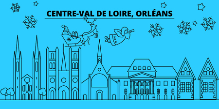 France, Orleans winter holidays skyline. Merry Christmas, Happy New Year decorated banner with Santa Claus.Flat, outline vector.France, Orleans linear christmas city illustration Illustration