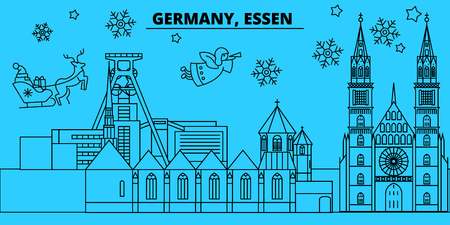 Germany, Essen winter holidays skyline. Merry Christmas, Happy New Year decorated banner with Santa Claus.Flat, outline vector.Germany, Essen linear christmas city illustration