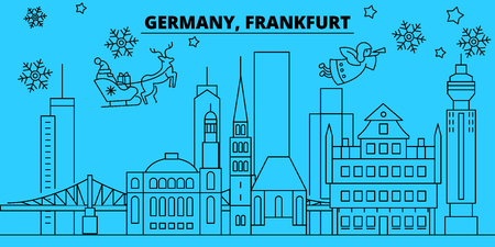 Germany, Frankfurt winter holidays skyline. Merry Christmas, Happy New Year decorated banner with Santa Claus.Flat, outline vector.Germany, Frankfurt linear christmas city illustration