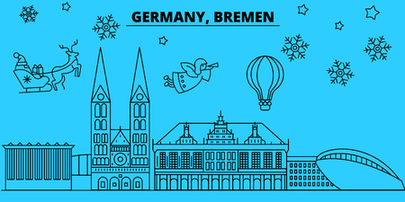 Germany, Bremen winter holidays skyline. Merry Christmas, Happy New Year decorated banner with Santa Claus.Flat, outline vector.Germany, Bremen linear christmas city illustration