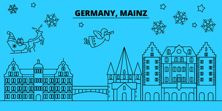Germany, Mainz winter holidays skyline. Merry Christmas, Happy New Year decorated banner with Santa Claus.Flat, outline vector.Germany, Mainz linear christmas city illustration