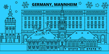Germany, Mannheim winter holidays skyline. Merry Christmas, Happy New Year decorated banner with Santa Claus.Flat, outline vector.Germany, Mannheim linear christmas city illustration