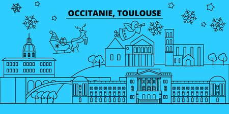 France, Toulouse winter holidays skyline. Merry Christmas, Happy New Year decorated banner with Santa Claus.Flat, outline vector.France, Toulouse linear christmas city illustration