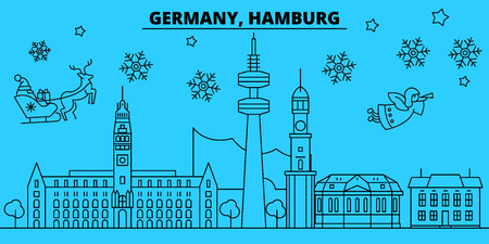 Germany, Hamburg winter holidays skyline. Merry Christmas, Happy New Year decorated banner with Santa Claus.Flat, outline vector.Germany, Hamburg linear christmas city illustration