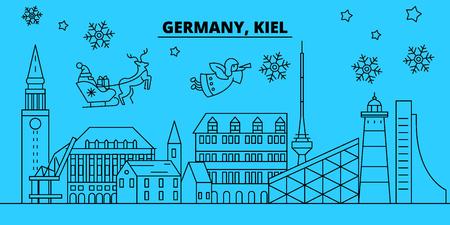 Germany, Kiel winter holidays skyline. Merry Christmas, Happy New Year decorated banner with Santa Claus.Flat, outline vector.Germany, Kiel linear christmas city illustration