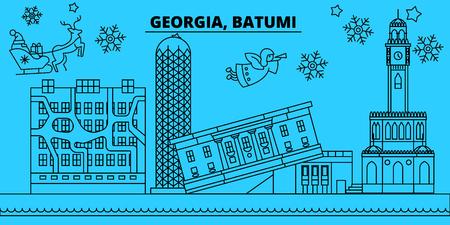 Georgia, Batumi winter holidays skyline. Merry Christmas, Happy New Year decorated banner with Santa Claus.Flat, outline vector.Georgia, Batumi linear christmas city illustration 일러스트