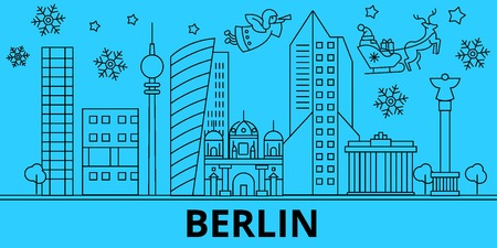 Germany, Berlin winter holidays skyline. Merry Christmas, Happy New Year decorated banner with Santa Claus.Flat, outline vector.Germany, Berlin linear christmas city illustration