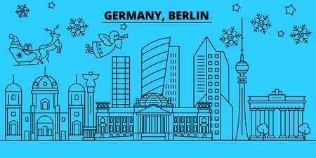 Germany, Berlin city winter holidays skyline. Merry Christmas, Happy New Year decorated banner with Santa Claus.Flat, outline vector.Germany, Berlin city linear christmas city illustration