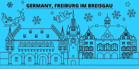 Germany, Freiburg im Breisgau winter holidays skyline. Merry Christmas, Happy New Year  with Santa Claus.Outline vector.Germany, Freiburg im Breisgau linear christmas city illustration  イラスト・ベクター素材