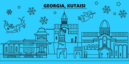 Georgia, Kutaisi winter holidays skyline. Merry Christmas, Happy New Year decorated banner with Santa Claus.Flat, outline vector.Georgia, Kutaisi linear christmas city illustration Zdjęcie Seryjne - 112700488