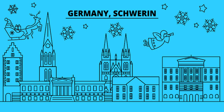 Germany, Schwerin winter holidays skyline. Merry Christmas, Happy New Year decorated banner with Santa Claus.Flat, outline vector.Germany, Schwerin linear christmas city illustration