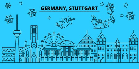 Germany, Stuttgart winter holidays skyline. Merry Christmas, Happy New Year decorated banner with Santa Claus.Flat, outline vector.Germany, Stuttgart linear christmas city illustration Illustration
