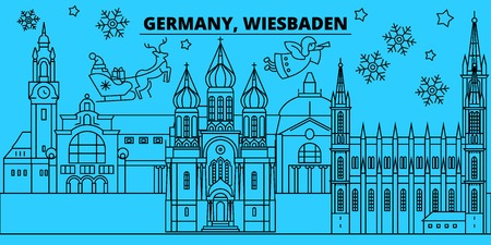 Germany, Wiesbaden winter holidays skyline. Merry Christmas, Happy New Year decorated banner with Santa Claus.Flat, outline vector.Germany, Wiesbaden linear christmas city illustration Illustration