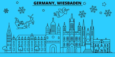 Germany, Wiesbaden city winter holidays skyline. Merry Christmas, Happy New Year decorated banner with Santa Claus.Flat, outline vector.Germany, Wiesbaden city linear christmas city illustration