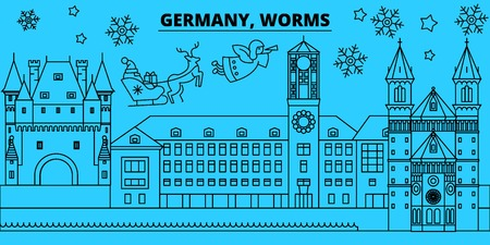Germany, Worms winter holidays skyline. Merry Christmas, Happy New Year decorated banner with Santa Claus.Flat, outline vector.Germany, Worms linear christmas city illustration