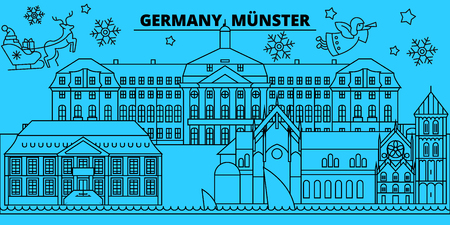 Germany, Munster winter holidays skyline. Merry Christmas, Happy New Year decorated banner with Santa Claus.Flat, outline vector.Germany, Munster linear christmas, city illustration