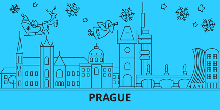 Czech Republic, Prague city winter holidays skyline. Merry Christmas, Happy New Year decorated banner with Santa Claus.Outline vector.Czech Republic, Prague city linear christmas city illustration