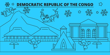 Democratic Republic of the Congo winter holidays skyline. Merry Christmas, Happy New Year  with Santa Claus.Outline vector.Democratic Republic of the Congo linear christmas city illustration