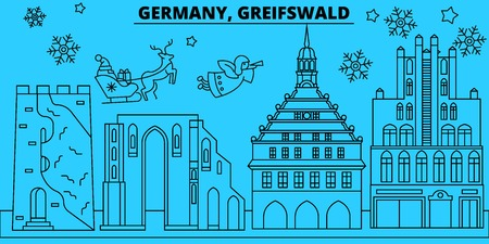 Germany, Greifswald winter holidays skyline. Merry Christmas, Happy New Year decorated banner with Santa Claus.Flat, outline vector.Germany, Greifswald linear christmas city illustration