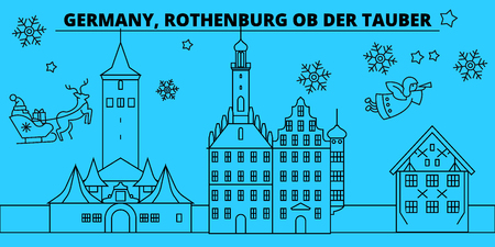 Germany, Rothenburg ob der Tauber winter holidays skyline. Merry Christmas, Happy New Year with Santa Claus.Outline vector.Germany, Rothenburg ob der Tauber linear christmas city illustration