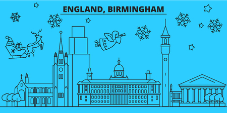 Great Britain, Birmingham winter holidays skyline. Merry Christmas, Happy New Year decorated banner with Santa Claus.Flat, outline vector.Great Britain, Birmingham linear christmas city illustration