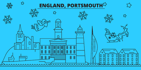 Great Britain, Portsmouth winter holidays skyline. Merry Christmas, Happy New Year decorated banner with Santa Claus.Flat, outline vector.Great Britain, Portsmouth linear christmas city illustration