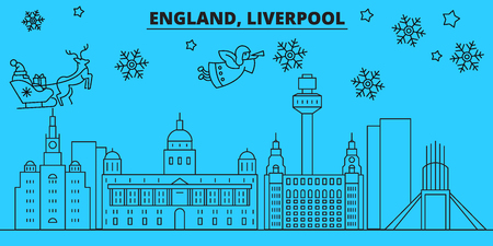 Great Britain, Liverpool winter holidays skyline. Merry Christmas, Happy New Year decorated banner with Santa Claus.Flat, outline vector.Great Britain, Liverpool linear christmas city illustration