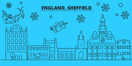 Great Britain, Sheffield winter holidays skyline. Merry Christmas, Happy New Year decorated banner with Santa Claus.Flat, outline vector.Great Britain, Sheffield linear christmas city illustration