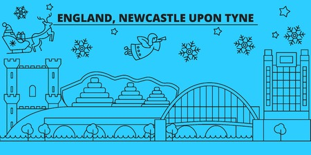 Great Britain, Newcastle upon Tyne winter holidays skyline. Merry Christmas, Happy New Year  with Santa Claus.Outline vector.Great Britain, Newcastle upon Tyne linear christmas city illustration