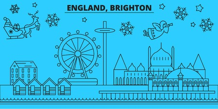 Great Britain, Brighton winter holidays skyline. Merry Christmas, Happy New Year decorated banner with Santa Claus.Flat, outline vector.Great Britain, Brighton linear christmas city illustration