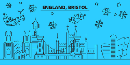 Great Britain, Bristol winter holidays skyline. Merry Christmas, Happy New Year decorated banner with Santa Claus.Flat, outline vector.Great Britain, Bristol linear christmas city illustration Illustration