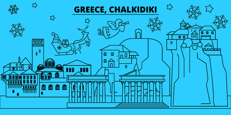 Greece, Chalkidiki winter holidays skyline. Merry Christmas, Happy New Year decorated banner with Santa Claus.Flat, outline vector.Greece, Chalkidiki linear christmas city illustration