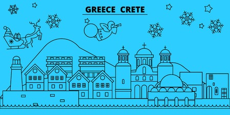 Greece, Crete winter holidays skyline. Merry Christmas, Happy New Year decorated banner with Santa Claus.Flat, outline vector.Greece, Crete linear christmas city illustration Ilustrace