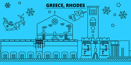 Greece, Rhodes winter holidays skyline. Merry Christmas, Happy New Year decorated banner with Santa Claus.Flat, outline vector.Greece, Rhodes linear christmas city illustration Çizim