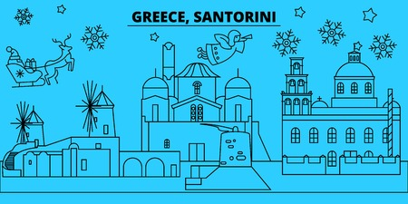 Greece, Santorini winter holidays skyline. Merry Christmas, Happy New Year decorated banner with Santa Claus.Flat, outline vector.Greece, Santorini linear christmas city illustration