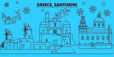 Greece, Santorini winter holidays skyline. Merry Christmas, Happy New Year decorated banner with Santa Claus.Flat, outline vector.Greece, Santorini linear christmas city illustration