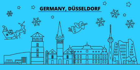 Germany, Dusseldorf winter holidays skyline. Merry Christmas, Happy New Year decorated banner with Santa Claus.Germany, Dusseldorf linear christmas city vector flat illustration