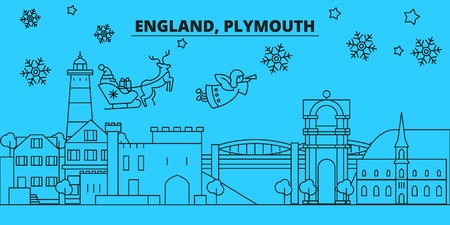 Great Britain, Plymouth winter holidays skyline. Merry Christmas, Happy New Year decorated banner with Santa Claus.Flat, outline vector.Great Britain, Plymouth linear christmas city illustration