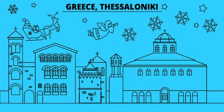 Greece, Thessaloniki winter holidays skyline. Merry Christmas, Happy New Year decorated banner with Santa Claus.Flat, outline vector.Greece, Thessaloniki linear christmas city illustration Illustration