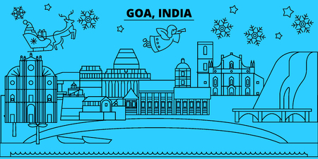 India, Goa winter holidays skyline. Merry Christmas, Happy New Year decorated banner with Santa Claus.Flat, outline vector.India, Goa linear christmas city illustration
