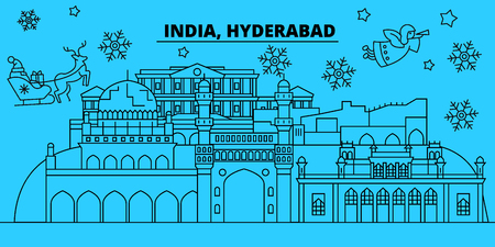 India, Hyderabad winter holidays skyline. Merry Christmas, Happy New Year decorated banner with Santa Claus.Flat, outline vector.India, Hyderabad linear christmas city illustration Vetores