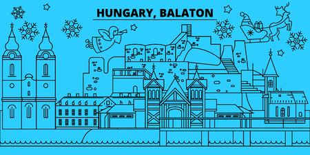 Hungary, Balaton winter holidays skyline. Merry Christmas, Happy New Year decorated banner with Santa Claus.Flat, outline vector.Hungary, Balaton linear christmas city illustration