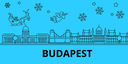 Hungary, Budapest winter holidays skyline. Merry Christmas, Happy New Year decorated banner with Santa Claus.Flat, outline vector.Hungary, Budapest linear christmas city illustration Banque d'images - 127334894