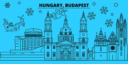 Hungary, Budapest city winter holidays skyline. Merry Christmas, Happy New Year decorated banner with Santa Claus.Flat, outline vector.Hungary, Budapest city linear christmas city illustration Ilustração