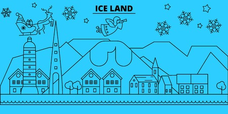 Iceland winter holidays skyline. Merry Christmas, Happy New Year decorated banner with Santa Claus.Flat, outline vector.Iceland linear christmas city illustration Illusztráció
